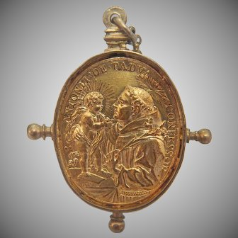Antique gilt silver coin pendant, Italy, early 19th century