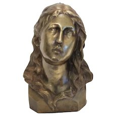 Antique Bronze bust of Saint Mary Magdalene, ca. 1900