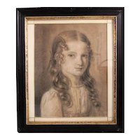Antique Charcoal Drawing of a young girl, signed and dated 1824