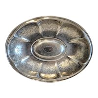 Antique Silver Plated bowl with engravings, 19th century