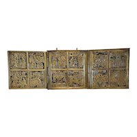 Antique Russian enamelled Triptych, 19th century