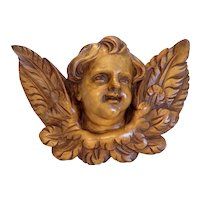 Antique hand carved winged Cherub head sculpture, 19th century