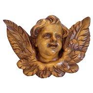 Antique hand carved winged Cherub head sculpture, 19th century