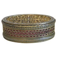 Antique gilt metal jewelry box, 19th century