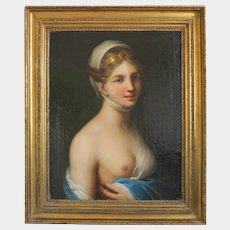 Antique painting of a young woman, oil on canvas, first half 19th century