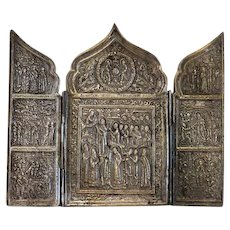 Antique Russian Triptych, gilt metal, 1st half  19th century