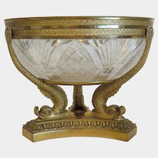 Antique French gilt bronze glass bowl, 19th century