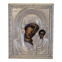Antique Russian Icon, silver plated oklad, 19th century