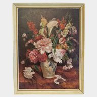 Flower painting, oil on canvas, ca. 1920