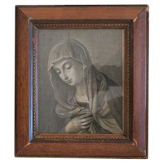 Antique copper engraving depicting the Holy Virgin, 19th century