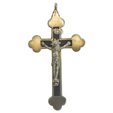 Antique Italian silver crucifix, 19th century