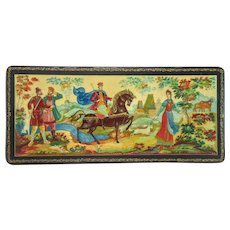 Vintage Russian Lacquer box ,signed, dated at the 20th century