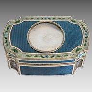 Antique French Guilloche enamel gilt silver box, Paris ca. 1880