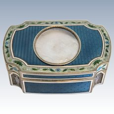 Antique French Guilloche enamel gilt silver box, Paris ca. 1880
