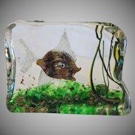 Cenedese glass block aquarium, most certainly Riccardo Licata, ca. 1950