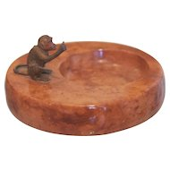 Antique marble ash tray with Vienna Bronze monkey figure, early 20th century