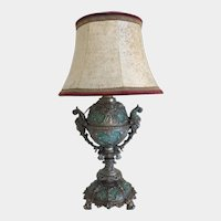 Victorian metal cast urn fitted as a table lamp with shade , 19th century