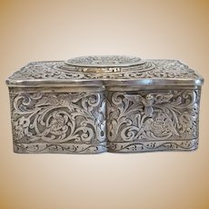 Antique silver Singing Bird Box, ca. 1900