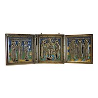Antique Russian Icon, enamelled, early 19th century