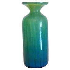 Vintage Bohemian green glass  vase, ca. 1930