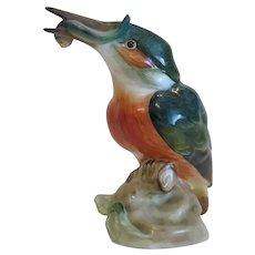 Vintage Herend porcelain Kingfisher figure, ca.1950
