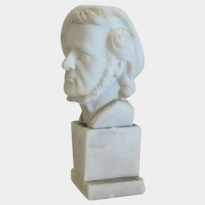 White marble sculpture of Richard Wagner,signed,20th century