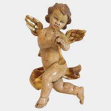 Vintage lime wood angel sculpture, gilded, early 20th century