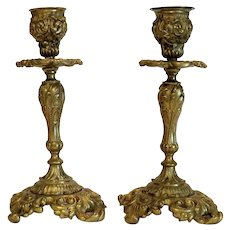 Antique pair of Gilt Bronze candle sticks, 19th century