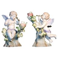 Lefton Pair of Cupids in Trees 952