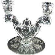 Heisey Etched Orchid Double Light Candlestick
