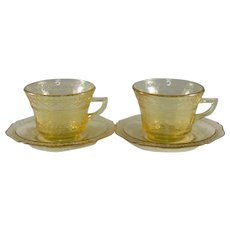 Federal Glass Amber Patrician Cup and Saucer, Set of 2