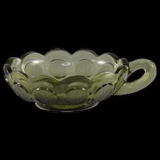 Fostoria Coin Glass Olive Green Handled Nappy