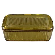 Federal Rectangular Refrigerator Dish with Lid in Amber