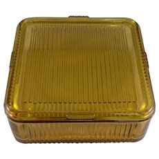 Federal Large Square Refrigerator Dish with Lid in Amber