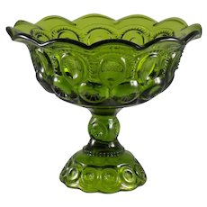 Large Round Compote in Dark Green Moon and Stars
