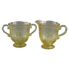Fostoria Baroque Footed Open Sugar and Creamer in Topaz