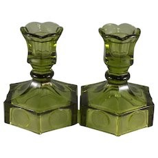 Fostoria Coin Glass Pair of Single Light Candlesticks in Olive Green