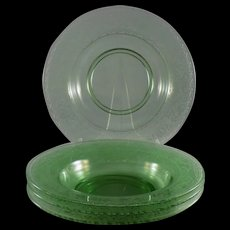 Fostoria Royal Soup Bowls in Green, Set of 4