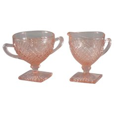 Anchor Hocking Miss America Footed Open Sugar and Creamer in Pink