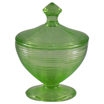 Green Circle Pattern Glass Candy Dish with Lid