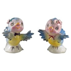 Lefton Bluebird Salt and Pepper Shakers with Rhinestones #239