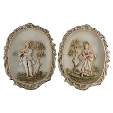 Lefton Pair of Oval Colonial Man and Woman Wall Hanging #KW115