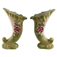Lefton Pair of Cornucopia Vases inn Pastel Green Bisque with Pink Roses #774M