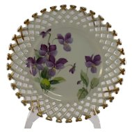 Lefton Reticulated Plate with Violets WK711PL