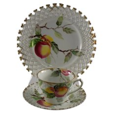 Lefton 3 Piece Luncheon Set with Peach Design WK711
