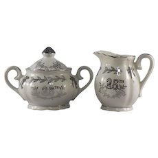 Lefton 25th Anniversary Mini Sugar and Creamer Set #4929