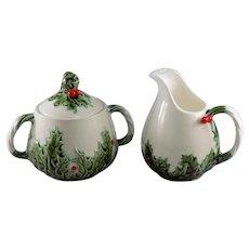 Lefton White Christmas Sugar and Creamer Set #604