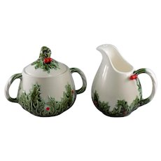 Lefton White Christmas Sugar and Creamer Set #604