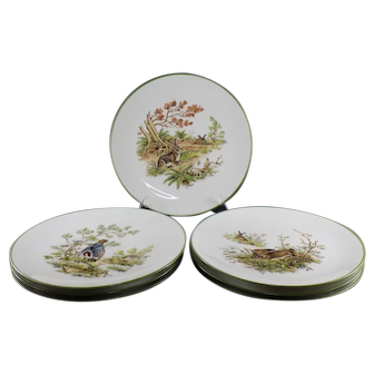 Bareuther & Co Set of 7 Salad Plates Featuring Rabbits and Birds
