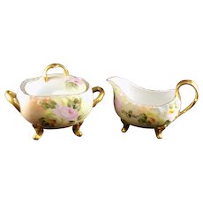 T&V Limoges Footed Sugar and Creamer - Signed by Artist
